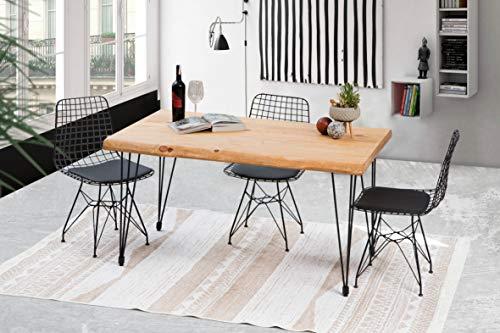 Gozos Esstisch Massivholz aus Baumstamm - Holztisch Esszimmer 120x80 aus massiven Holz mit Pingu-Metallbeinen - Baumkantentisch handgefertigt aus Echtholz
