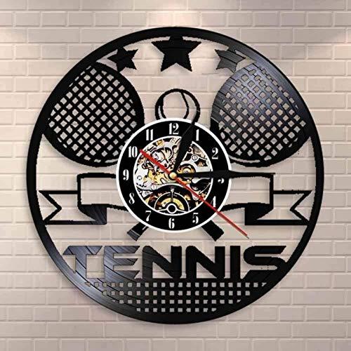 AYCYNI Tenis Tenis Tenis Tenis Tenis Tenis Tenis Tenis Raqueta de Tenis Cruce Arte Reloj Reloj Deporte Deporte Deportes decoración vinil Vinilo grabación Tenis Tenis Regalo de Tenis 30 × 30 cm