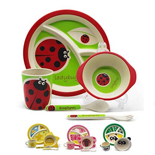 Set vajilla Infantil de bambú 5 Piezas Servicio de Mesa Cubertería para Niños Tazón de cereal Vaso de Beber Plato Cuenco Cubiertos