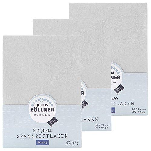 Julius Zöllner Spannbetttuch Jersey 70x140 / 60x120 Hellgrau 3er Pack