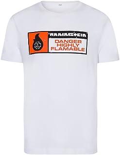 Rammstein Herren T-Shirt Highly Flammable Offizielles Band Merchandise Fan Shirt Weiss mit mehrfarbigem Front Print
