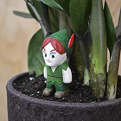 Peter Pan Mini Wood Figure on Metallic Stake for Mini Fairy Garden Handmade Craft Idea for Home Disney Style Tiny Landscape Decoration Cute Miniature Art Wood AccessoriesPlant Décor