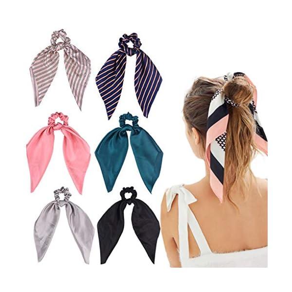 Beauty Shopping 6Pcs Hair Scrunchies Satin Silk Elastic Hair Bands Hair Scarf Ponytail Holder Scrunchy