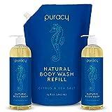 Puracy Body Wash, Citrus & Sea Salt, Natural Bath & Shower Gel for Men and Women, 2-Pack & Refill, 96 Ounce