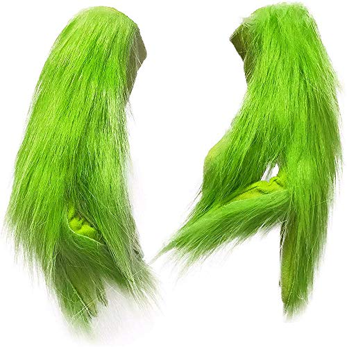 Green Hair Monster Christmas Decoration Christmas Gloves Cosplay Halloween Christmas Funny Carnival Party