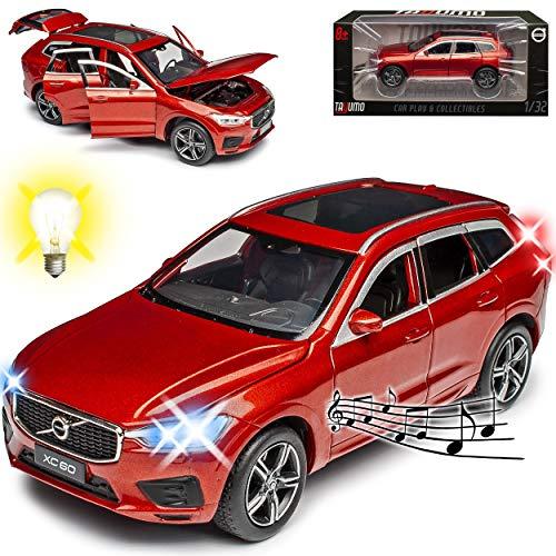 NEW Volvo XC60 II SPA SUV Fusion Rot 2. Generation Ab 2017 mit Licht und Sound 1/32 Tayumo Modell Auto mit oder ohne individiuellem Wunschkennzeichen