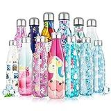 Bottiglia Acqua in Acciaio Inox - 350/500/750ml, Borraccia Termica Isolamento Sottovuoto a Doppia...