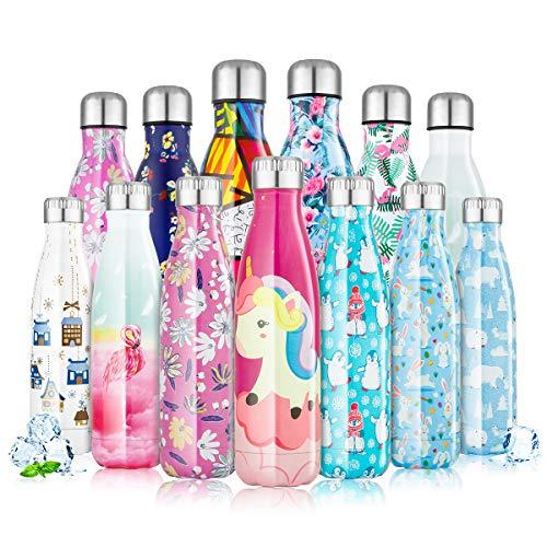 Botella de Agua Acero Inoxidable 350/500/750ml, Cantimplora Termo con Doble Aislamiento para 12...