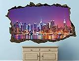 HQSM Pegatinas de pared calcomanías de pared de la ciudad de Nueva York, calcomanías rotas personalizadas, calcomanía 3d,...