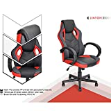 Homy Casa E-Sports Gaming Racing Office Chair 360 Swivel Height Adjustable Tilting Function PU Upholstered Thick Padded,24'x26.38'x42.13'-45.67' (Red)