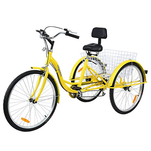 industrial trikes Iglobalbuy Adult Tricycles 26 Inch 7 Speed 3 Wheel Bikes for Adult Tricycle Trike Cruise Bike Large Size Basket for Recreation, Shopping