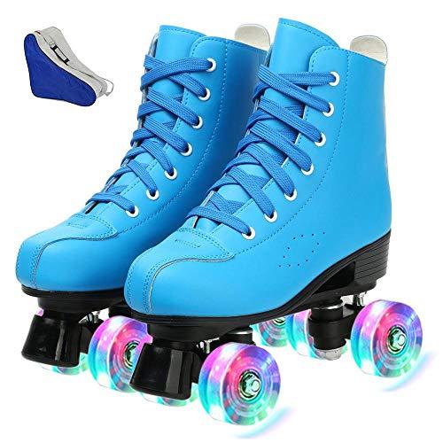 Rollschuhe aus PU-Leder, hochgeschnitten, für drinnen und draußen, klassische 4 Räder, Skating Rollschuhe aus Leder, glänzende Rollschuhe für Damen, Herren, Jungen, Mädchen (Blue Flash, 7,5)