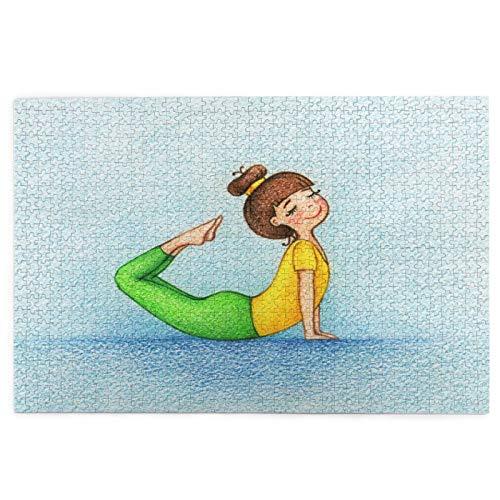 MZTYPLK Rompecabezas de 1000 Piezas,Rompecabezas de imágenes,Cuadro Dibujado Mano Chica Haciendo Yoga,Juguetes Puzzle for Adultos niños Interesante Juego Juguete Decoración para El Hogar