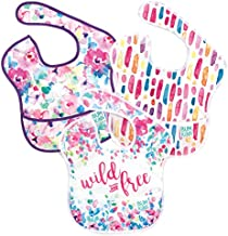 Bumkins SuperBib, Baby Bib, Waterproof, Washable, Stain and Odor Resistant, 6-24 Months, 3-Pack – Wild & Free, Watercolors, Brush Strokes