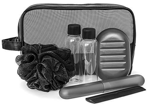 Kit Higiene e Banho Masculino para Viagem, Ricca, Preto e Cinza