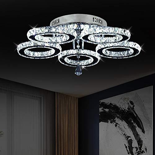 Lámpara LED para techo, moderna araña de cristal y acero inoxidable, para dormitorio, salón, comedor