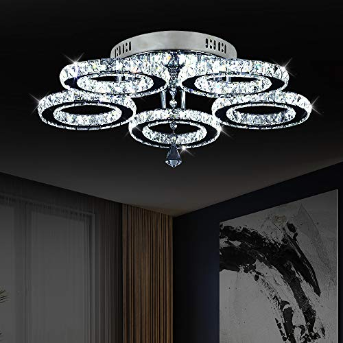 Crystal Chandelier, 5 Rings LED Crystal Ceiling Lights Flush Mount Modern Stainless Steel Pendant Lights Fixtures for Bedroom Dining Room Living Room