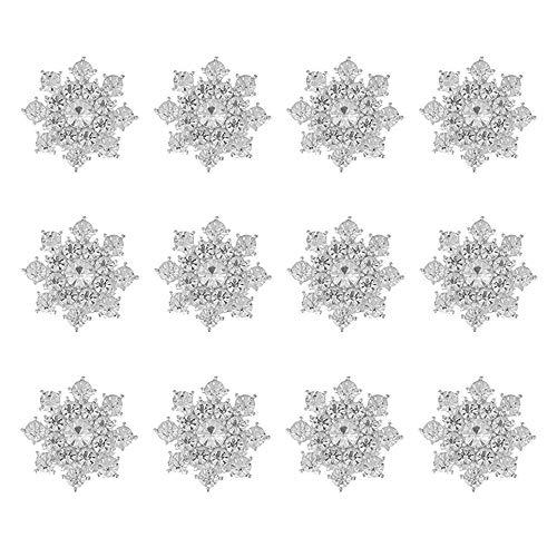 Bottoni Strass,12 Pezzi Bottone Bottone Fiore Strass, Bottoni Abbellimento Schiena Piatta,per Fai-da-te, Creazione di Gioielli, Decorazione di Nozze, Decorazione di Copricapo da Sposa