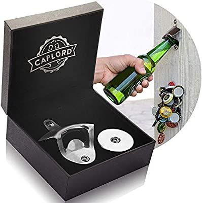 Bottle Opener Wall Mounted with Magnetic Cap Catcher - Unique Beer Lovers Gifts for Men - Great Birthday Gifts for Dad, Boyfriend, Mens Gifts Ideas for Bday, Housewarming, Present for Father's Day from