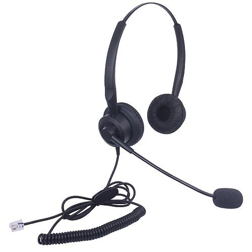 Audicom Corded Call Center Headset Headphone with Mic for Avaya 1416 2420 5410 Aastra 6757i Mitel 5330 NEC Aspire DT300 DSX ShoreTel IP230 Polycom 335 and VVX310 400 Telephone IP Phones(H201STA)
