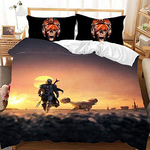 BATTE Star Wars - Juego de ropa de cama y funda de almohada (microfibra, impresión digital 3D, 140 x 210 cm)