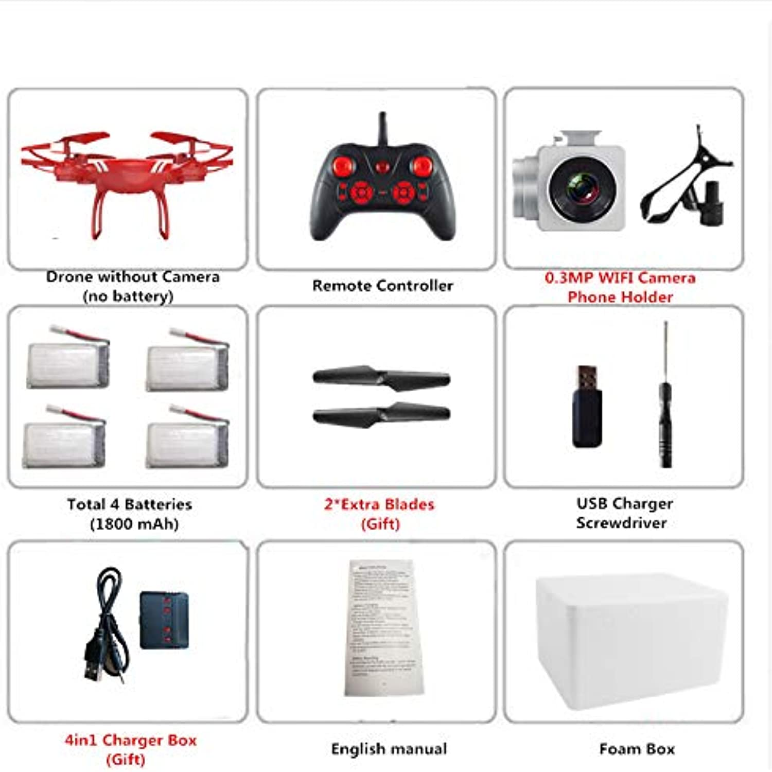 Generic KY101S RC RC RC Drone with Adjustable Camera 5 0MP 1080P