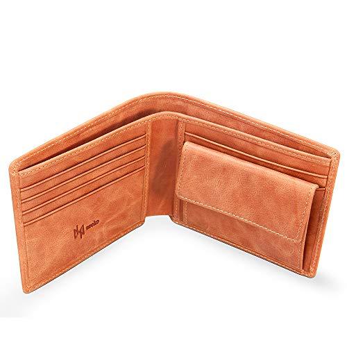 Cartera de Cuero Marrón Auténtico Hecho a Mano para Hombre y Adolescente de la Marca Francesa Neeko Lujo - Billetera de Bolsillo en Piel Real y Tarjetero Minimalista con Protección RFID