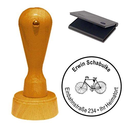 Stempel met kussen « fiets » adresstempel firmastempel Bike fietslijm reparatie