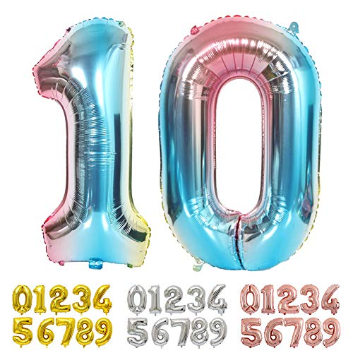 Ponmoo Foil Globo Número 10 Azul, Gigante Numeros 0 1 2 3 4 5 6 7 8 9 10-19 20-29 30 40 50 60 70 80 90 100, Grande Globos para La Boda Aniversario, Globo de Cumpleaños Fiesta Decoración
