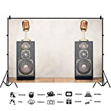 Baocicco 8x6.5ft Music Party Backdrop Microphone Loudspeaker Box Wooden Floor Photography Background Karaoke Party Song Party Leisure Time Theme Birthday Party Boys Girls Portrait Studio