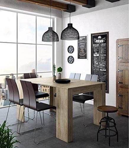 Home Innovation - Table Console Extensible, rectangulaire avec rallonges, jusqu'à 140 cm, pour Salle à Manger et séjour, Couleur chêne Clair brossé. Jusqu´à 6 Personnes.