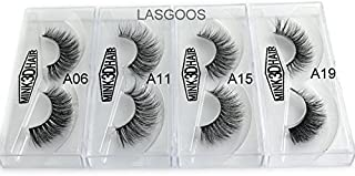 4Box/Lot 3D Mink False Eyelashes LASGOOS Siberian Luxurious Fluffy Messy Cross Thick Long 4 Pairs Diffferent Light Weight Fake Eye Lashes Makeup Set 02