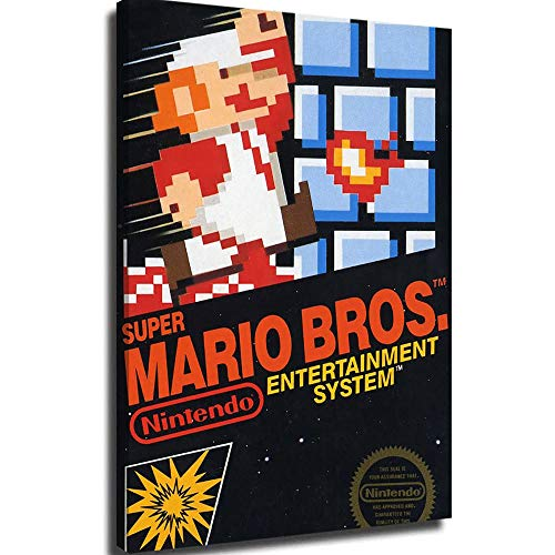 Canvas Wall Pictures Framed Canvas Super Mario Bros Game Box Wall Art Canvas Frame Posters 24x36inch