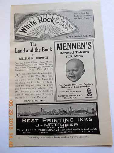 Advertisements for White Rock Table Water, Mennen's Borated Talcum; J. M. Huber Best Printing Inks