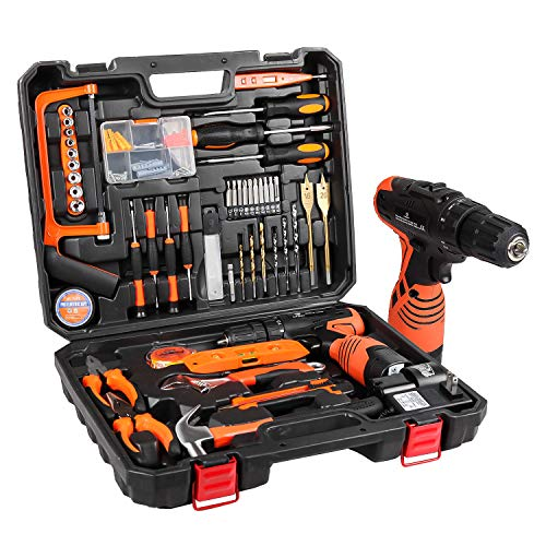 LETTON 16.8V Tool Set with Drill, 247 In-lb Torque, 0-1300RMP Variable Speed, 10MM 3/8'' Keyless Chuck, 18+1 Clutch, 1.3Ah Li-Ion Battery & Charger for Home Tool Kit