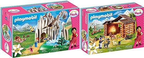 PLAYMOBIL® Heidi Juego de 2 Piezas 70254 70255 Lago con Heidi, Pedro y Clara + Establo de Cabras de Pedro