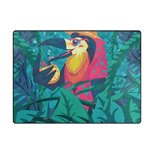 MALPLENA Vacances Parrot Zone Tapis antidérapant Pad Moyen d'entrée Paillasson Tapis de Sol Chaussures Grattoir, Polyester, 1, 63 x 48 inch
