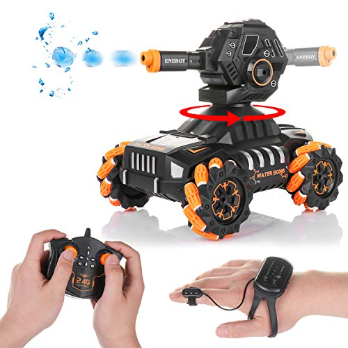 RC Tank Car,12Km/h All Terrains Electric Vehicle Can Launch Water Bomb Armored Car with 180° Rotating Shooting & 360° Rotating Vehicle,2.4Gz Remote Control Children's Toy Car for Boys Kids (Orange)