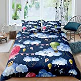 Blue Sky White Clouds Rainy Duvet Cover Queen Colored Hot Air Balloon Bedding Sets Flying Swallow 3 Pieces Comforter Sets(1 Duvet Cover 2 Pillow Cases)