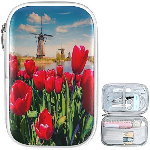 Oarencol Federmäppchen mit rotem Tulpen-Motiv, mit Reißverschluss, große Kapazität, Kosmetiktasche, Schreibwarenbox