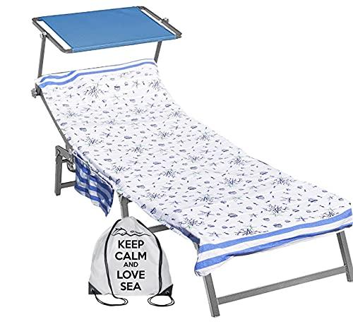 telo mare x lettino con elastici Tex family Telo Mare fouta Lettino Pesci Blu in Cotone BEDDY Beach © con Tasche Misura CM. 75 X 195 e Zaino Spiaggia
