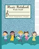 Manuscript Paper Notebook for Kids Music: Blank Sheet Music Book for Music Lessons, Musicians, School, and Preschool Kids. Music Composition Notebook ... 6 Staves Per Page, Blank Staff Paper for Kids