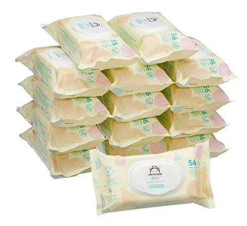 Marque Amazon -  Mama Bear Soft Lingettes légèrement parfumée pour bébé - Pack de 15 (840 lingettes)