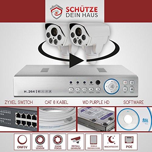 SDH - Set professionale per videosorveglianza con 2 telecamere IP PTZ Full HD, 2MP, zoom 10x, NVR, 4TB, ONFIV, PoE, 80m IR