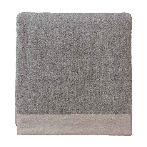 URBANARA 140x220 cm Wolldecke 'FYN' Grau/Natur — 100% Reine skandinavische Wolle — Ideal als Überwurf, Plaid oder Kuscheldecke für Sofa und Bett — Warme Decke aus Schurwolle mit Leinenborte