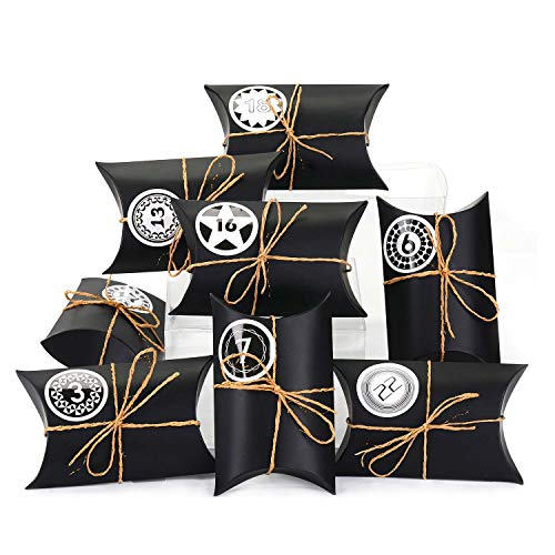 EKKONG Adventskalender zum Befüllen, 24 Adventskalender Kraftpapier Tüten mit 24 Zahlenaufklebern - für Weihnachten zum Basteln und Verzieren, Weihnachts-Geschenktüte zum DIY und Befüllen (Schwarz)