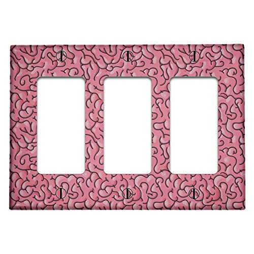 Triple 3 Gang Rocker (Decora/GFCI Device) Decorative Switch Wall Plate Cover (Brain Pattern)