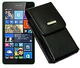 Köchertasche Etui für / Microsoft Lumia 435 - Microsoft Lumia 532 Dual Sim / Ledertasche Vertikaltasche mit einer Gürtelschlaufe auf der Rückseite