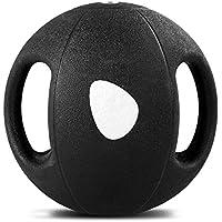 COSTWAY Balón Medicinal de Ejercicio Gimnasia Yoga de Goma con Asas Color Negro Selección de Peso 2-9KG (26.5 x 26.5 x 26.5CM, 7)
