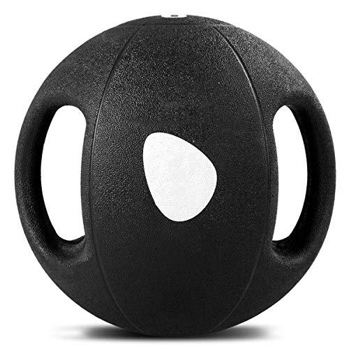 COSTWAY Pelota de Ejercicio Gimnasia Yoga de Goma Balón Medicinal con Asas Color Negro Selección de Peso 2-9KG